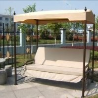 Outdoor Swing Bench with Shade Roof