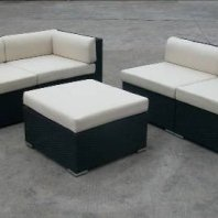 4 Chairs with Ottoman and 5mm Glass Table
